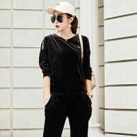 秋季新款金丝绒运动套装女时尚天鹅绒休闲运动服春秋两件套