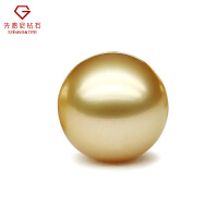 先恩尼珠宝定制 海水金珠 裸珠金色淡黄 珍珠项链吊坠