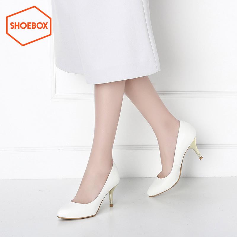 达芙妮旗下鞋柜shoebox新品细跟尖头套脚高跟鞋 韩版女鞋