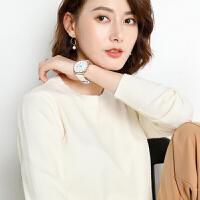 茉蒂菲莉 卫衣 女士棉质圆领长袖单色字母印花上衣秋季韩版新款时尚休闲宽松大码女式女装