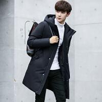 冬季青年男士黑色中长款羽绒服男韩版修身款加厚防寒服学生男外套 黑色
