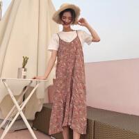 夏装女装新款韩版短袖T恤+中长款荷叶边碎花雪纺吊带连衣裙两件套 均码