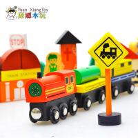正品磁性城市交通情景交通标志积木 木制宝宝儿童益智玩具