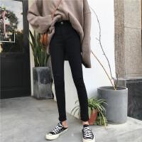 春装显瘦牛仔裤女九分裤铅笔裤小脚裤复古高腰破洞简约纯色长裤潮