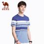 骆驼男装 2018年夏季新款花纱条纹休闲上衣 微弹圆领绣标短袖T恤
