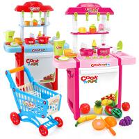 宝宝厨具餐具套装水果切切乐儿童过家家厨房玩具 女孩超市购物车