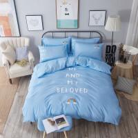 刺绣床上四件套棉公主风床单式粉色1.8 2.0m床双人棉韩式简约