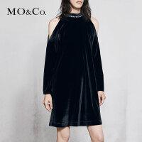 MOCO春季新品丝绒露肩可拆卸闪钻连衣裙MA181DRS202 摩安珂