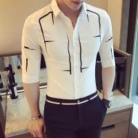 男士衬衫短袖2018新款韩版休闲印花衬衣青年百搭潮帅气七分袖寸衫
