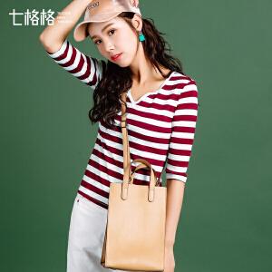 七格格2017秋装新款韩版修身五分袖中袖半袖打底衫半开领条纹T恤上衣女