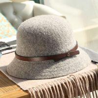 帽子女毛呢韩式日系圆顶小檐渔夫帽复古秋冬盆帽优雅蝴蝶结小礼帽 可调节