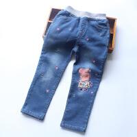 女童牛仔裤秋季新款宝宝卡通刺绣弹力棉牛仔裤休闲小脚裤