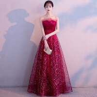 宴会晚礼服女2018新款红色结婚敬酒服新娘气质名媛订婚抹胸裙长款 酒红色