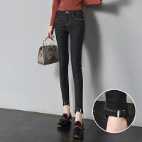 黑色牛仔裤女秋装新款九分裤韩版高腰长裤显瘦紧身小