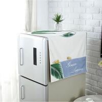 滚筒洗衣机罩单双开门冰箱盖布防尘罩棉麻盖巾床头柜盖布详情 白色 ZJ绿叶