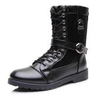 秋保暖新款男士高筒靴潮流靴棉靴长筒皮靴拉链潮男靴子