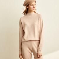 Amii极简时尚休闲针织上装女2020秋装新款半高领毛衣上衣