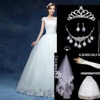 新款婚纱礼服冬季新娘结婚修身镶钻抹胸孕妇大码梦幻长拖尾女 XXL 130斤左右