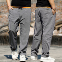 男士运动裤子休闲裤男宽松直筒加肥加大码胖子肥佬裤薄款 浅灰色