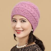 秋冬中老年女士保暖帽冬季老年人兔毛线帽加厚护耳老人帽子女冬天