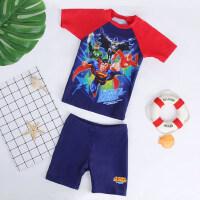儿童泳衣男超人速干防晒男童连体小童中大童泳衣小孩宝宝儿童泳装