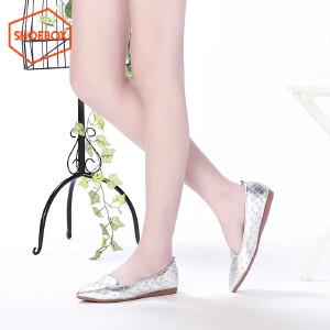 达芙妮旗下SHOEBOX/鞋柜新款时尚铆钉菱格女单鞋 中口低跟单鞋