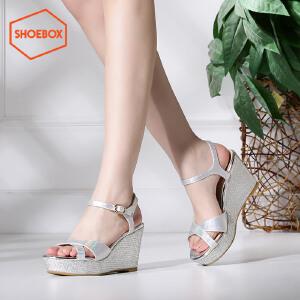 shoebox鞋柜夏季坡跟厚底凉鞋韩版新款拼色松糕鞋高跟鞋女鞋