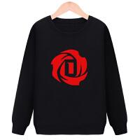 罗斯卫衣 男女秋冬圆领卫衣外套公牛罗斯1号篮球休闲运动衣服 黑色 圆领卫衣罗斯玫瑰