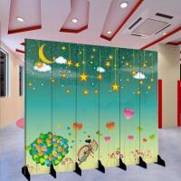 现代屏风隔断卡通幼儿园儿童房卧室舞台折叠玄关门背景墙移动折屏 乳白色 K-1