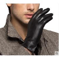 精致开叉腕口分指全指手套羊皮男士触屏手套修手简约保暖加厚绒手套