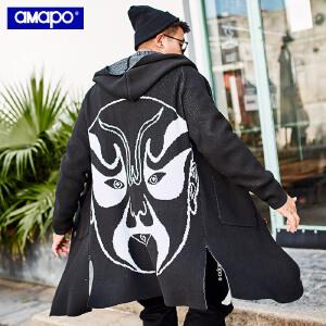 【限时抢购到手价:135元】AMAPO潮牌大码男装2018新款男士开衫针织衫加肥加大毛衣针织外套