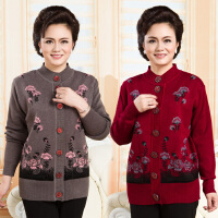 中老年人羊毛衫秋冬装老人家衣服毛衣开衫60外套女装70岁80奶奶装