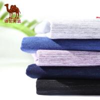 骆驼男装 2018年夏季新款门筒领休闲短袖个性绣标多色男士短T恤