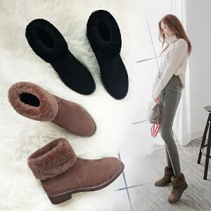 毅雅】秋冬新款短靴低跟加绒保暖女马丁靴粗跟复古套脚裸靴雪地靴YM7WW7017
