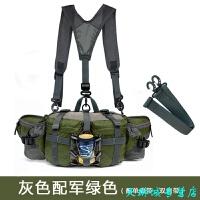 户外腰包 多功能旅行装备男女款 登山运动旅游水壶骑行背包防水 军绿 配单双肩带