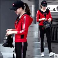 韩版广场舞运动服装套装女 连帽卫衣休闲三件套中年大码修身显瘦团体服