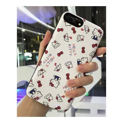 iphone6s背夹充电宝苹果X卡通可爱女款8p手机壳7plus无线电池 白色(6/6S/7/8) 3000毫安 null