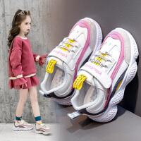 女童鞋2020新款春款儿童运动鞋女孩网面老爹鞋