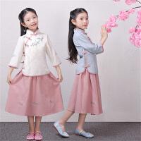 儿童民国风棉麻旗袍学生装复古风裙子女童汉服