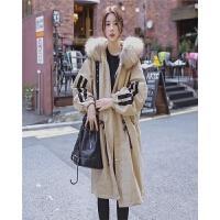 实拍 休闲运动风 韩国大毛领条纹拼接厚实工装棉衣女冬季外套
