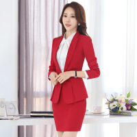 2017新款时尚女士职业套装西装面试西服正装OL气质大红色工装秋冬