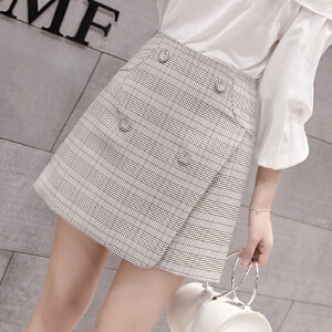 AGECENTRE 2018春装新款 春季春季新款韩版复古格子短裙女高腰显瘦包臀半身裙