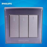 飞利浦墙壁开关插座面板86型金属系列Q8 213三位按键三开单极开关