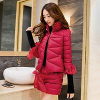 20180323012135237棉衣套装女短裤两件套冬装新品韩版修身加厚棉袄短款外套