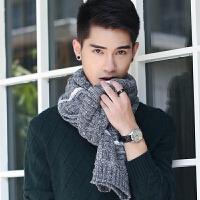 冬季年轻人保暖学生百搭男士加厚毛线围巾韩版针织条纹港味英伦潮