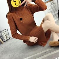 秋冬装新款韩版中长款宽松圆领毛衣女套头包臀加厚长袖针织打底衫