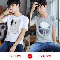 夏季男士圆领短袖t恤打底衫半袖夏款潮流韩版男装白色大码上衣服Y