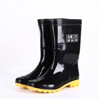中高筒雨鞋男雨靴 耐酸碱水靴牛筋底劳保胶靴三水鞋