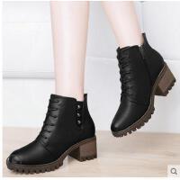 古奇天伦春秋新款靴子学生冬鞋百搭短靴粗跟马丁靴英伦风复古高跟女靴