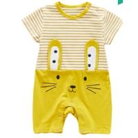新生儿连体衣夏季0-1岁男女宝宝卡通短袖爬爬服薄款条纹哈衣